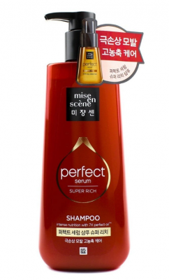 Шампунь для поврежденных волос с обогащенным составом MISE EN SCENE Perfect Serum Shampoo Super Rich 680мл: фото