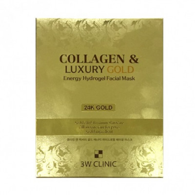 Маска гидрогелевая с золотом 3W CLINIC Collagen & Luxury Gold Energy Hydrogel Facial Mask 30г: фото