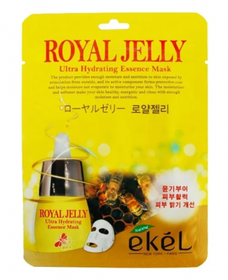 Тканевая маска для лица с экстрактом маточного молока EKEL Royal Jelly Ultra Hydrating Essence Mask 25г: фото