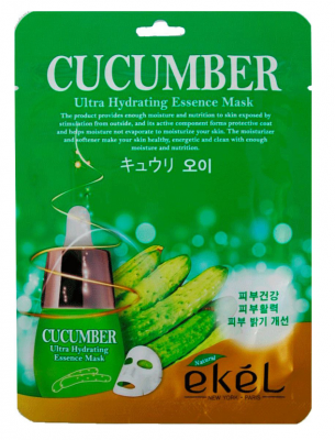 Тканевая маска для лица с экстрактом огурца EKEL Cucumber Ultra Hydrating Essence Mask 25г: фото